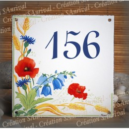 Street Number enamelled Poppies decoration 6x6in