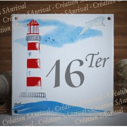 Street Number enamelled Red Lighthouse decoration 6x6in