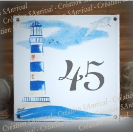 Street Number enamelled Blue Lighthouse decoration 6x6in