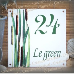 Home plate enamelled Rushes decoration 6x6in