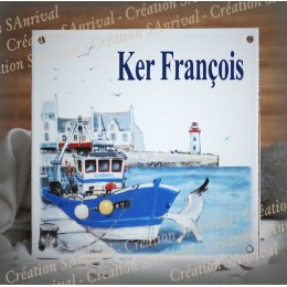 Home plate enamelled harbour decoration 6x6in