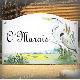 home sign enamelled Heron decor 5,2x8in
