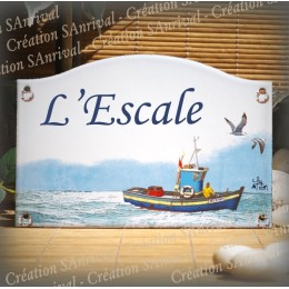 home sign enamelled Trawler decor 5,2x8in