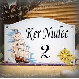 Plaque de Maison émaillé décor Navire 13,5x20cm