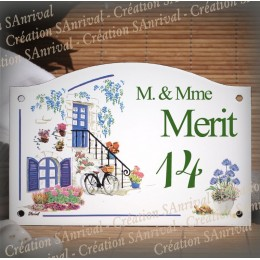 home sign enamelled Blue shutters decor 5,2x8in