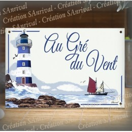 House name plate enamelled Lighthouse and sailboat decoration