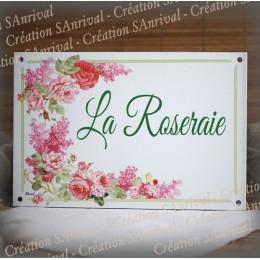 Plaque maison émaillée décor Roses et pois de senteur