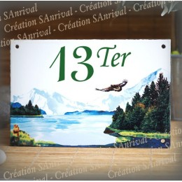 House number plate enamelled Mountain decoration