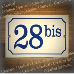 Numéro bleu émail ivoire 15x10cm