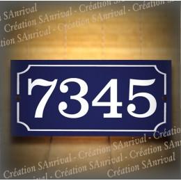Numéro blanc émail bleu 22x10cm