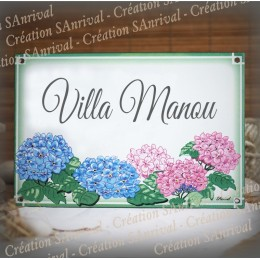 House name plate enamelled Hydrangeas decoration