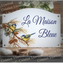 Home sign enamelled blue tits decor 5,2x8in