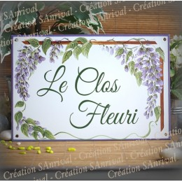 Big Enamel house plate  wisteria  décor with your text customized