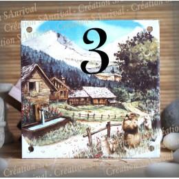 Numéro de rue émaillé : décor Montagne Marmottes, 15x15cm