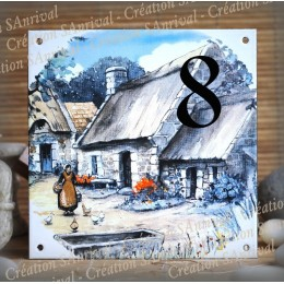 Street Number enamelled thatched roof decoration 6x6in