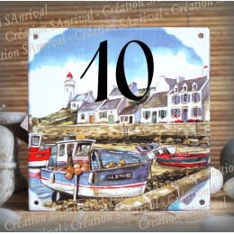 Street Number enamelled lighthouse boats decoration 6x6in