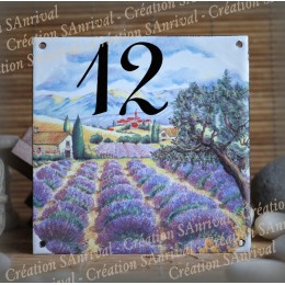 Street Number enamelled Lavander decoration 6x6in