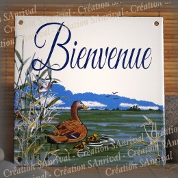 "Home plate enamelled ""Bienvenue"" Pond décoration"