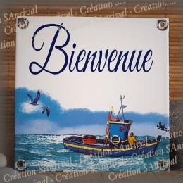 Plaque maison émaillée Bienvenue décor bateau de pêche