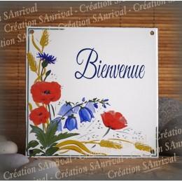 Plaque maison émaillée Bienvenue décor fleuri
