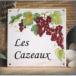 Plaque de maison émaillé décor vignes 15x15cm