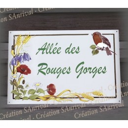 Big Enamel house plate  flowers and robin décor with your text customized