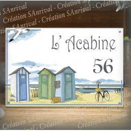 House sign enamelled Beach huts decoration