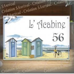 Plaque maison émaillée décor Cabines de plage