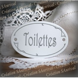 Plaque ovale Chambre des Amis sérigraphie gris sur émail blanc