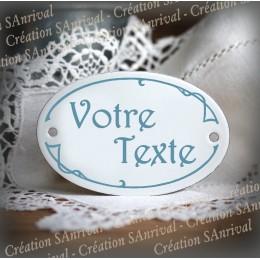 Plaque ovale émail blanc personnalisé avec votre texte