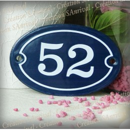Blue enamel oval plate white number