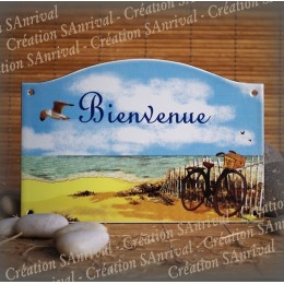 Street Number enamelled seaside decor 5,2x8in