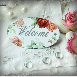 oval enamelled Plate Welcome décor Roses