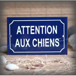 """Blue Enamel Plate """"Attention aux chiens"""""""