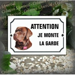 """Enameled plate plate with your dog's photo """"Attention je monte la garde"""""""
