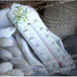 Thermomètre émaillé décor Myosotis