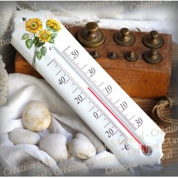 Thermomètre émail décor Tournesol