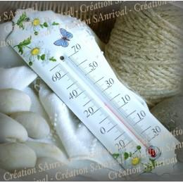 Thermomètre émaillé décor pâquerette