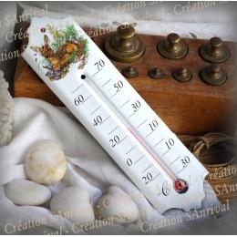 Thermomètre émaillé décor Faon