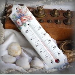 Thermomètre émaillée décor Roses anciennes