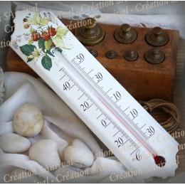 Thermomètre émail décor Framboise