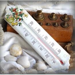 Thermomètre émail décor Groseilles