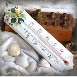Thermomètre émail décor Fruit du chêne