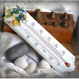 Thermomètre émail décor Nectarine Cassis