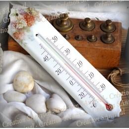 Thermomètre émail décor hortensias