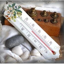 Thermomètre émail décor Noyer
