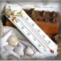 Thermomètre émail décor Mésanges bleues