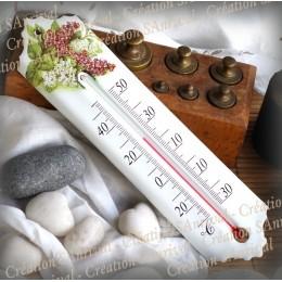 Thermomètre émail décor Lilas