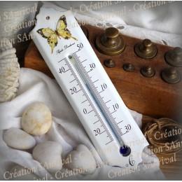 Thermomètre émail blanc décor Papillon