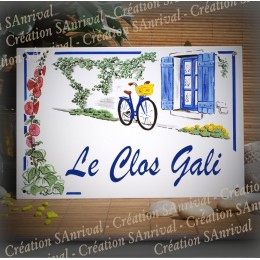 Enamel house plate Blue Shutters décor with your text customized